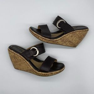Born Leather Wedge Sandals with Silver Buckle